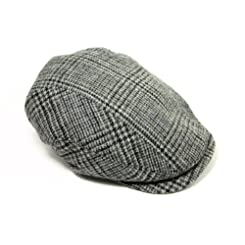 Irish Flat Cap 100% Wool Tweed Quilted Lining Grey