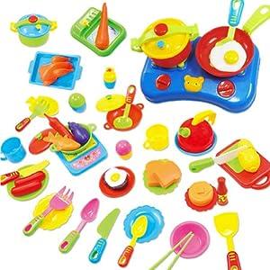 ZGY Küchen Spielzeug Set, 60 teilig , mit Messer, Gabel, Teller, Messkännchen , Herd , Pfanne und Schüssel, das besondere Geschenk