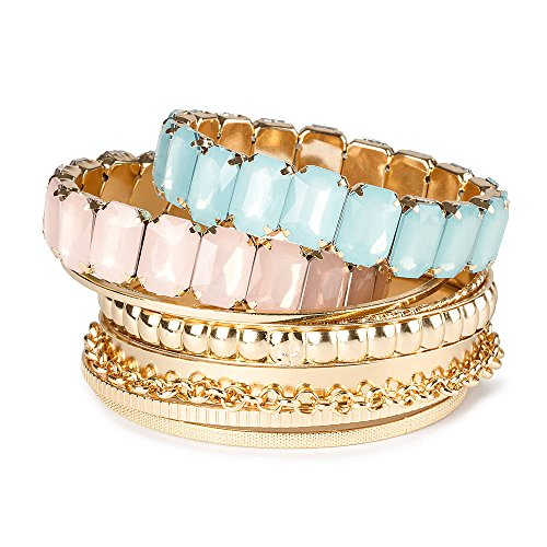 Claire'S Accessories Girls Gold Bangles And Rectangle Gems Stretch Bracelets Set Of 8