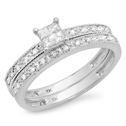 0.58 Carat Bridal Set Princess Cut Diamond on 14K White gold