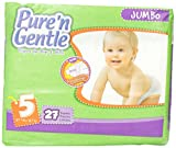 Pure 'n Gentle Ultra Diapers with Stretch Hook & Loop Closure System, Extra Large Size 5, Over 27 Pounds, 27 Count Pack Bag (Pack of 4)