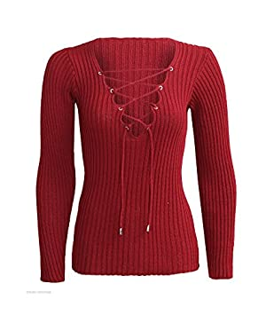 YABINA Women's Sexy Bandage Deep V Neck Lace Up Long Sleeve Blouse Tops (US8, Red)