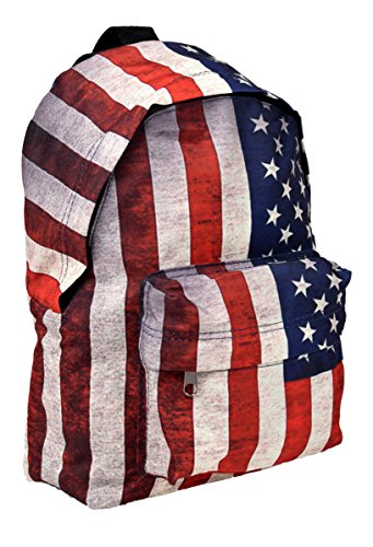 Mini zaino Sport zaino Streetwear City Backpack in USA Stars and Stripes Bandiera motivo