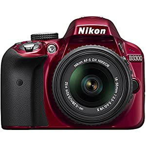 Nikon D3300 24.2 MP CMOS Digital SLR with Auto Focus-S DX NIKKOR 18-55mm f/3.5-5.6G VR II Zoom Lens (Red) (Certified Refurbished)