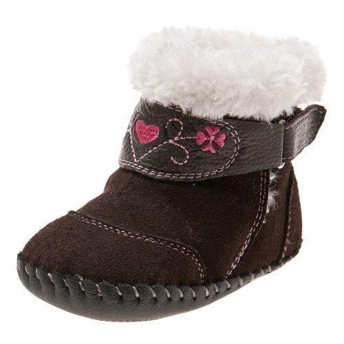 Little Blue Lamb - Chaussures premiers pas cuir souple fille | Bottines marron velours Taille: 12-18 mois