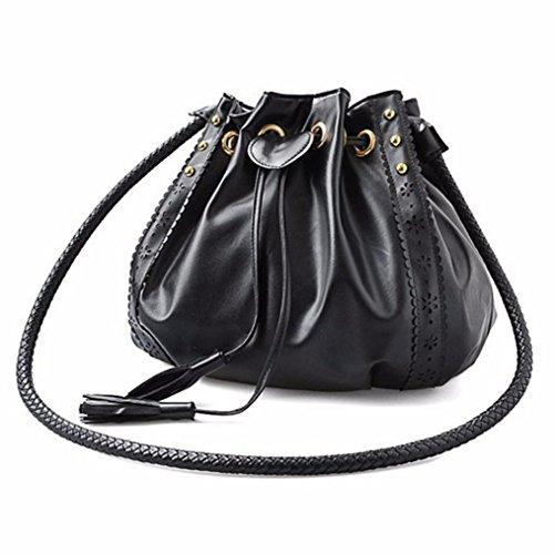 Kingko® Lady spalla della borsa del Tote borsa di cuoio del messaggero delle donne Hobo (Nero)
