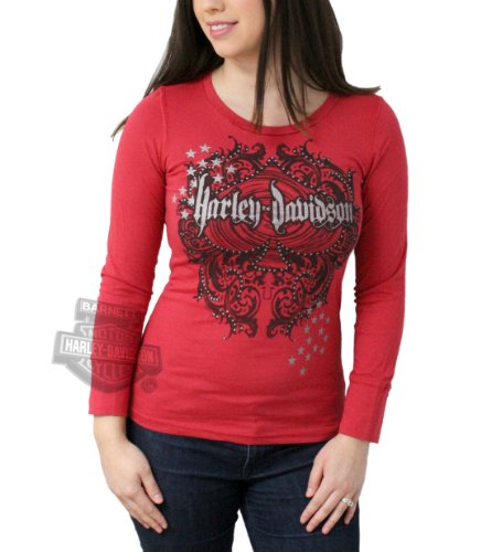 Harley-Davidson Womens Baked Apple H-D Player Metallic Ink with Thumbholes Red Long Sleeve Shirt- LG