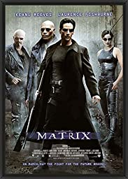 28in x 41in The Matrix - Black Floater Framed Canvas w/ BRUSHSTROKES