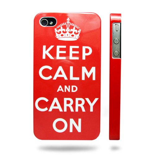 Keep Calm and Carry On Iphone 4 & 4s Case | Red | Premium Hard Shell with UV Coating