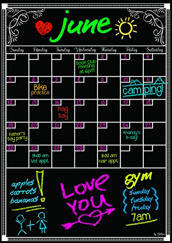 Detier Dry Erase Calendar - Flexible Magnet Board for Refrigerator 12 X 16.5 Inches Vertical Large Magnetic Organizer - Smooth Glossy Black Surface - Daily Weekly Monthly Planner - 2016 Design (Huge Cork Board compare prices)