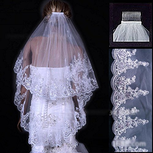 HuntGold 1X Elegant 2 Layer Paillette Cathedral Wedding Bridal Bride Elbow Veil Romantic Mantilla With Comb(white)