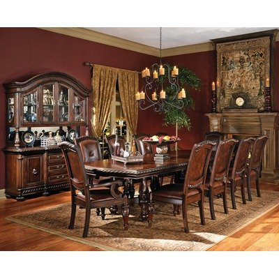 Antoinette 11 Piece Extended Leg Dining Table Set in Multi-Step Rich Cherry