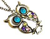 #5: 65 cm Lange Retro Halskette Kette mit Eulen-Anhänger mit 8 Kristallen in verschiedenen Fraben