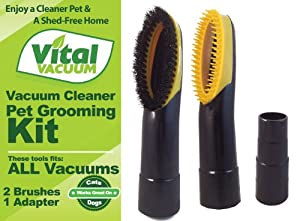 2 Vacuum Cleaner Pet Grooming Groomer Brush Attachment Tools - Fits ALL Vacuum Cleaners; Works great on Dogs & Cats - Unwanted Pet Hair Goes Into Your Vacuum Cleaner Before it Has a Chance to Settle Around your Home by Vital Vacuum