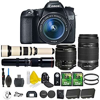 Canon EOS 70D 20.2 MP Digital SLR Camera with Dual Pixel CMOS Full HD 1080p + Canon EF-S 18-55mm IS STM + Canon EF-S 55-250mm IS STM + 500mm Preset Telephoto + 650-1300mm Lens + 2pc 32GB Memory Cards