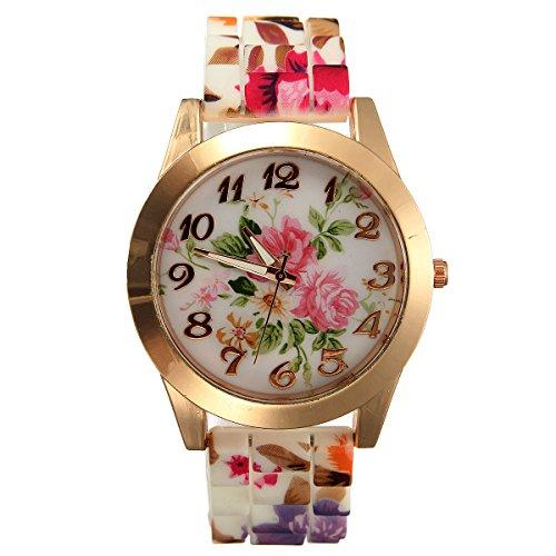 Montre Bracelet Quartz Silicone Style Fleur Femme Bijoux Watch Imprimé pas cher