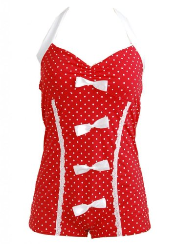 PinupClothingOnline Women's Polka Dot Bow Lace Trim Retro Pin up Swimsuit