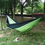 Okeler Portable Nylon Fabric Travel Camping Hammock for Double Two Person with Free Pen (Blackish Green and Light Green 270 x 135cm)