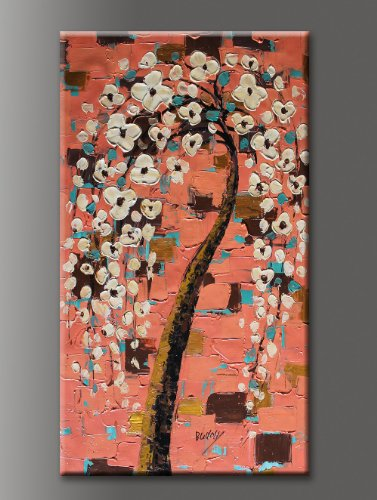 Almond Blossoms Palette Knife Oil Paintings Of Trees Original Artwork Large Modern Canvas Wall Art Signed