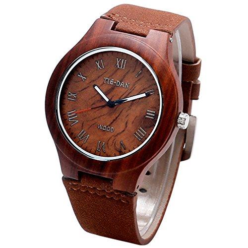 YISUYA Wooden Bamboo Mens Roman Number Dial Watches Light Fashion Women Wristwatch Brown Leather Bracelet (Roman Number Dial Watch compare prices)
