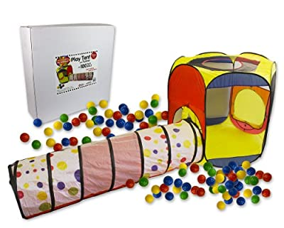 Play Tent with Tunnel and 100 Balls- Indoor and Outdoor Easy Folding Ball Pit with Carrying Case by Right Track Toys