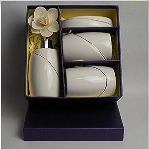 Bathroom accessory sets elegant gold for Striped bathroom accessories sets