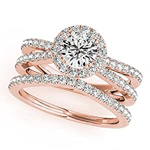 Halo Diamond Split Shank Engagement Ring and Wedding Band Bridal Set in 14k Rose Gold with 1.50ct