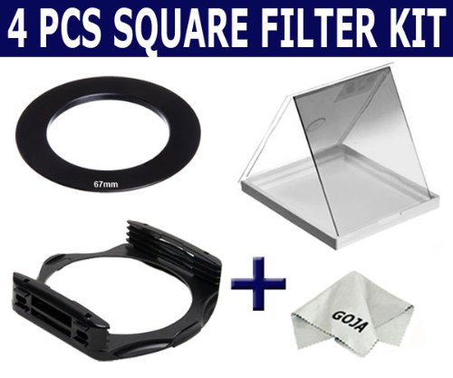 Kit for Cokin P Series System (67 MM). Includes: Filter Holder , Ring, Graduated Gradual Grey ND Square Filter and 1 Ultra Fine Goja Microfiber Cleaning Cloth