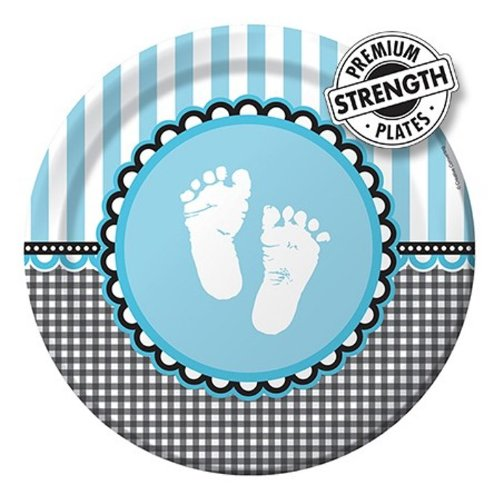 Creative Converting Sweet Baby Feet Blue Round Dinner Plates, 8 Count