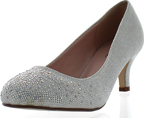 Women's Round Toe Slip On Dress Pumps Low Heel Glitter - Frozen Elsa Shoes