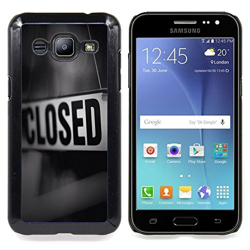 Closed Sign Store Message Black White Custodia protettiva Progettato rigido in plastica King Case For Samsung Galaxy J2