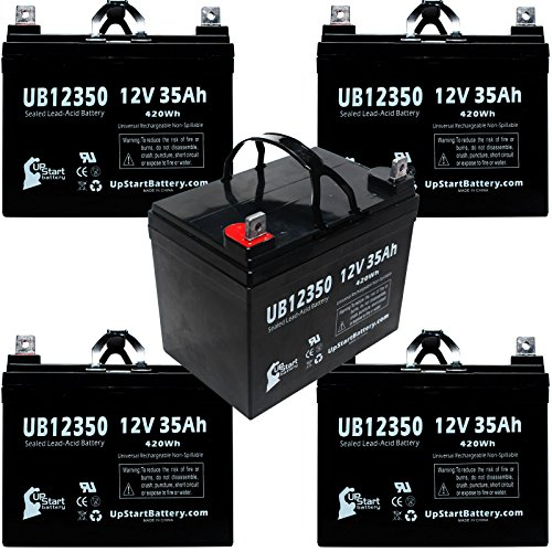 5X Pack - Electric Mobility Mini Base Scooter 130 Battery - Replacement Ub12350 Universal Sealed Lead Acid Battery (12V, 35Ah, 35000Mah, L1 Terminal, Agm, Sla)