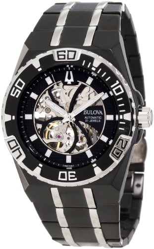 Bulova Men's Marine Star Mechanical Hand-Wind 98A108 Black Stainless-Steel Quartz Watch with Black Dial