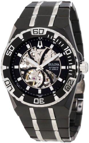 Bulova Men's Marine Star Mechanical Hand-Wind 98A108 Black Stainless-Steel Quartz Watch with Black Dial