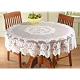 """White Floral Lace Tablecloth Round 60""""Dia."""
