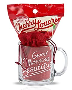 Cutie Cups Good Morning Beautiful Mug for Her, 13 Ounce (Candy Gift Set)