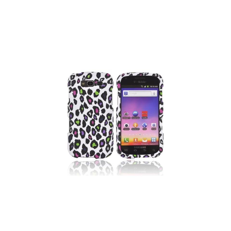Galaxy S Blaze 4G Case, [Rainbow Leopard on White] Slim Grip Rubberized Hard Plastic Case for Samsung Galaxy S Blaze 4G (2012)