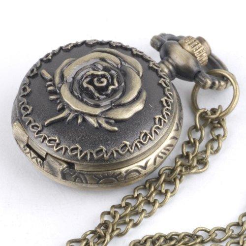 New vtg rose flower brass pocket watch quartz necklace by 81stgeneration
