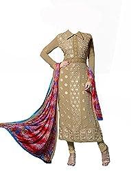 Admyrin Women Georgette Dress Material (Ay-Sk-Eg-309 _Beige _Large)