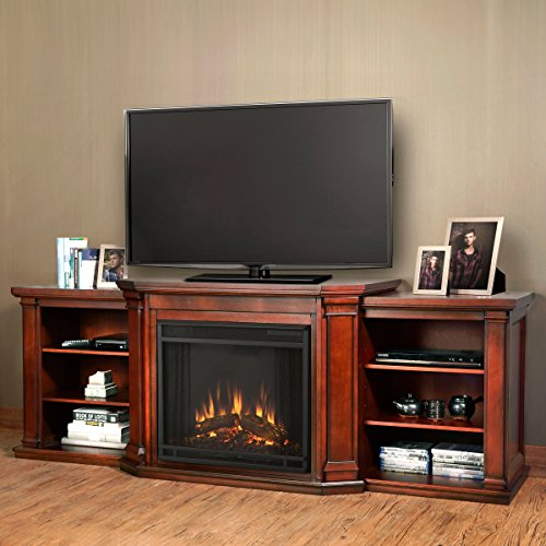 Review Valmont Entertainment Electric Fireplace in Dark Mahogany Finish