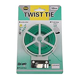 Generic Plastic Twist Tie Wire Spool with Cutter for Garden Yard Plant 50m Green