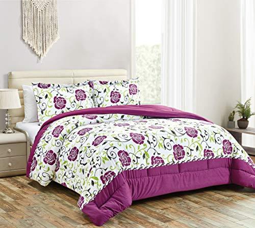 Townhouse Collection Lily 3-Piece Microfiber Reversible Down Alternative Comforter Set (King, Purple-01)