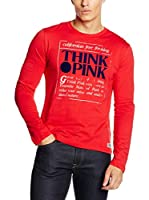 Think Pink Camiseta Manga Larga (Rojo)