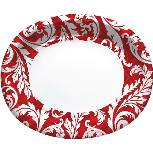 Peppermint Swirl Oval Banquet Plates