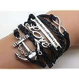 Jirong Unendlich-Love-Anchor-Motto (Wo ein Wille ist ist auch ein Weg) Armband Antique Black Ropes Armband 2548r