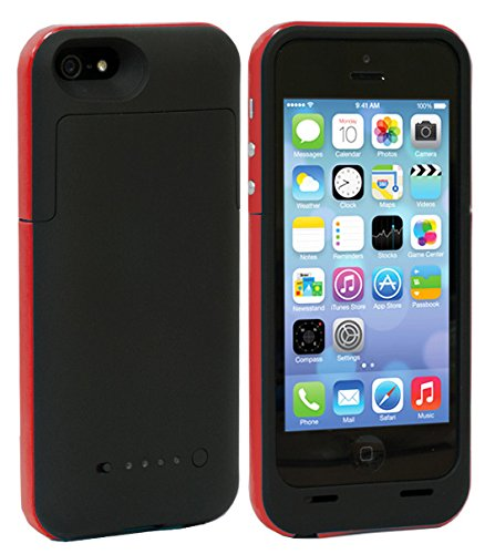 Shinefuture Slim External Rechargeable Backup Battery Charger Charging Case Cover For Iphone 5G 5C 5S With Pop-Out Kickstand 2200Mah (2500Mah Red)