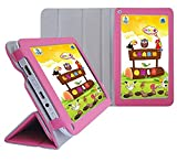 AZPEN A720 7-Inch Tablet Custom Fit Portfolio Leather Case Cover with Built In Stand- Pink