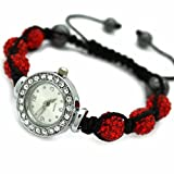EG® - Eeazy-Gizmo Jewellery Shamballa Bracelet Watches Swarovski Watch Crystal Beads 10mm (Red)