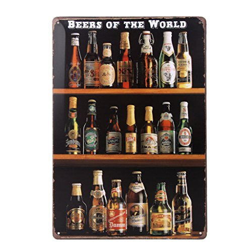 Vintage Poster Metallo BEER DISPLAY Arredo Murale Pub Bar Cafe Casa 20x30cm