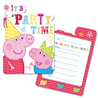 6 Peppa Pig RED Birthday Party Invitations Invites Plus Envelopes from Gemma
